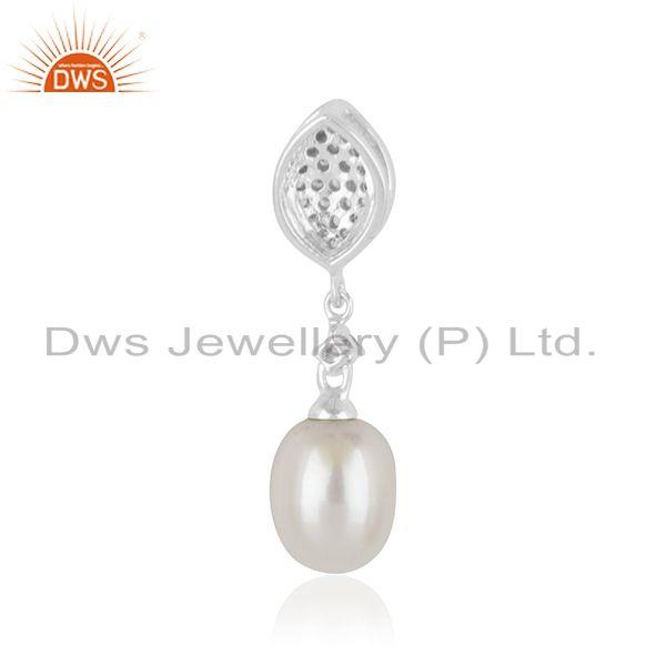 Suppliers White Zircon and Pearl Gemstone Fine Sterling Silver Pendant Supplier