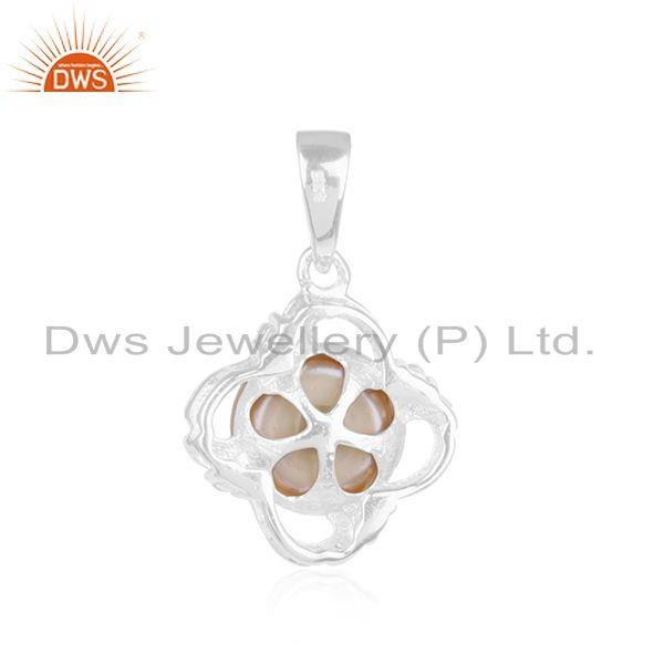 Wholesale Floral Design Fine Sterling Silver Natural Pink Pearl Gemstone Pendant in Jaipur