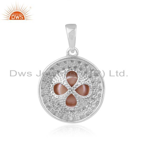 Suppliers Natural Gray Pearl Round Design White Rhodium Plated Silver Pendant