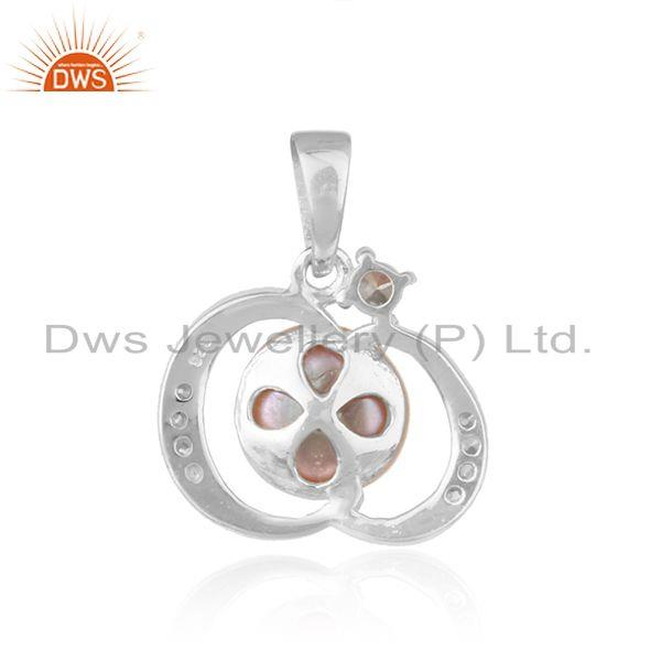 Suppliers Designer White Rhodium Plated 925 Silver Gray Pearl Pendant Jewelry