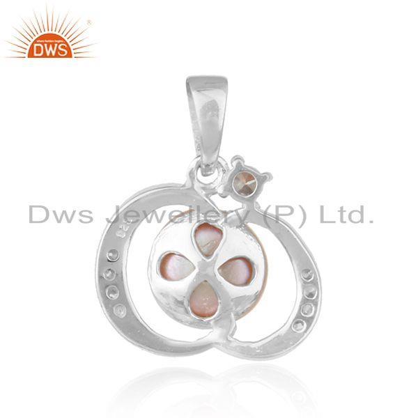 Suppliers Handmade White Rhodium Plated Silver Pink Pearl Gemstone Stud Pendants