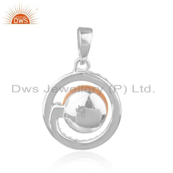 Suppliers Natural CZ Pink Pearl White Rhodium Plated Silver Round Design Pendant