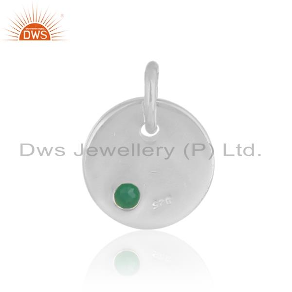 Designer of Handmade dainty charm pendant in solid silver with green onyx