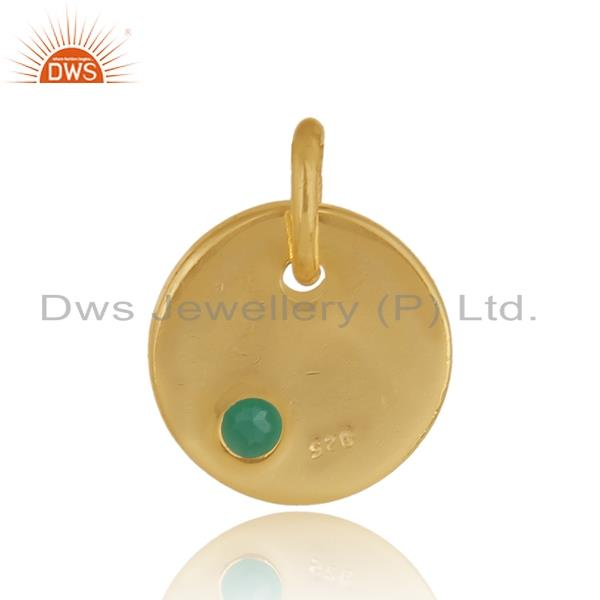 Designer of Dainty charm pendant in yellow gold on silver with green onyx