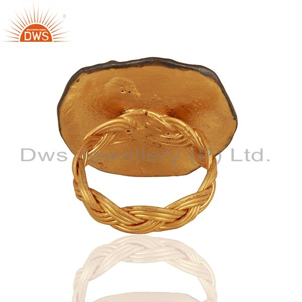 Suppliers Designer Gold Plated Silver Smoky Quartz Gemstone Ring Supplier
