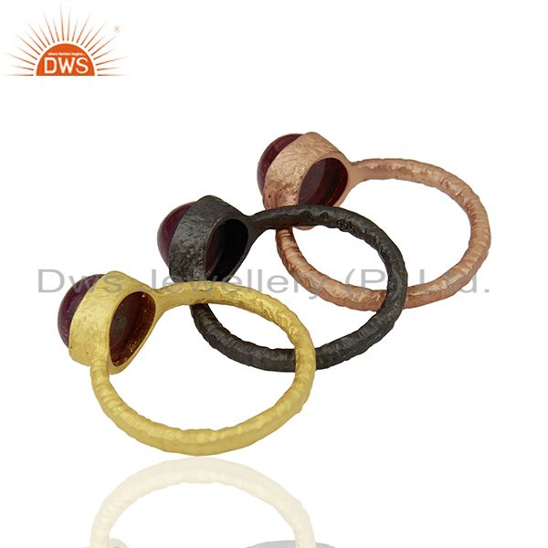 Suppliers 18K Gold Plated Sterling Silver Ruby Stacking 3 Pieces Ring Set
