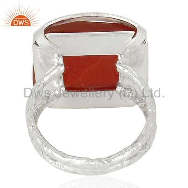 Suppliers New Arrival Sterling Silver Red Onyx Gemstone Womens Ring Jewelry