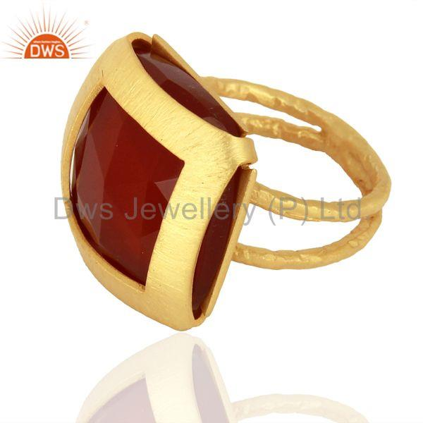 Suppliers Womens Gold Plated Silver Natural Red Onyx Gemstone Fashion Ring