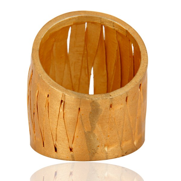 Suppliers Handcrafted .925 Sterling Silver Weave Designer Band Ring 18 K Gold Plated