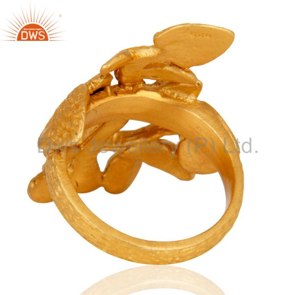 Suppliers Handmade 18K Gold Plated Sterling Silver Leaf Designer Fashion Ring