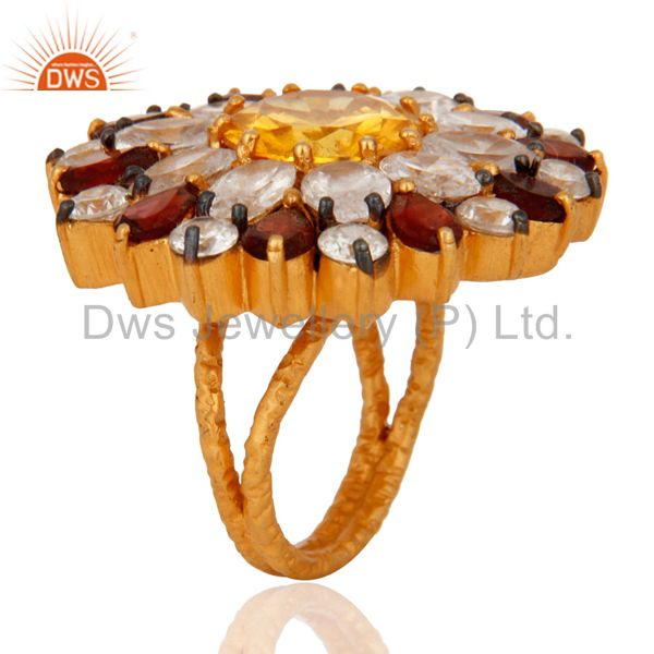 Suppliers Natural Garnet, Citrine And CZ Gold Plated Sterling Silver Floral Cocktail Ring