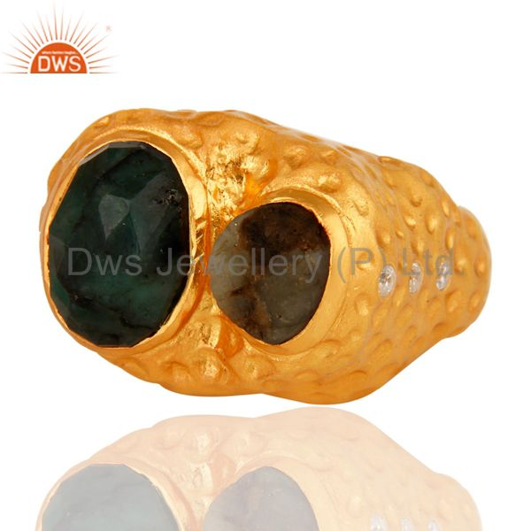 Suppliers Textured Design Sterling Silver With 18K Gold Plated Emerald Ring