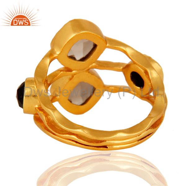 Suppliers 14-Carat Yellow Gold Plated Smoky Quartz And Black Onyx Handmade Ring For Women