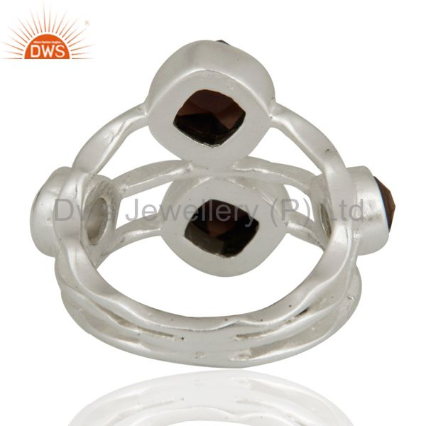 Suppliers 925 Sterling Silver Natural Faceted Smoky Quartz Gemstone Ring