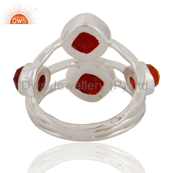 Suppliers Handmade Natural Faceted Gemstone Red Onyx 925 Sterling Silver Ring