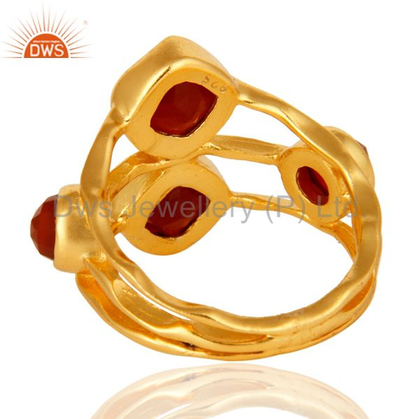 Suppliers Natural Red Onyx Designer Sterling Silver Gemstone Ring - 14K Gold Plated