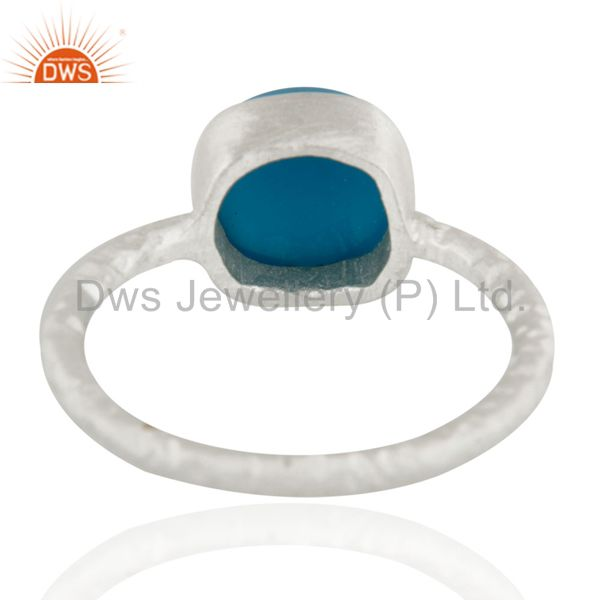 Suppliers Genuine 925 Sterling Silver Turquoise Gemstone Bezel Set Stacking Ring