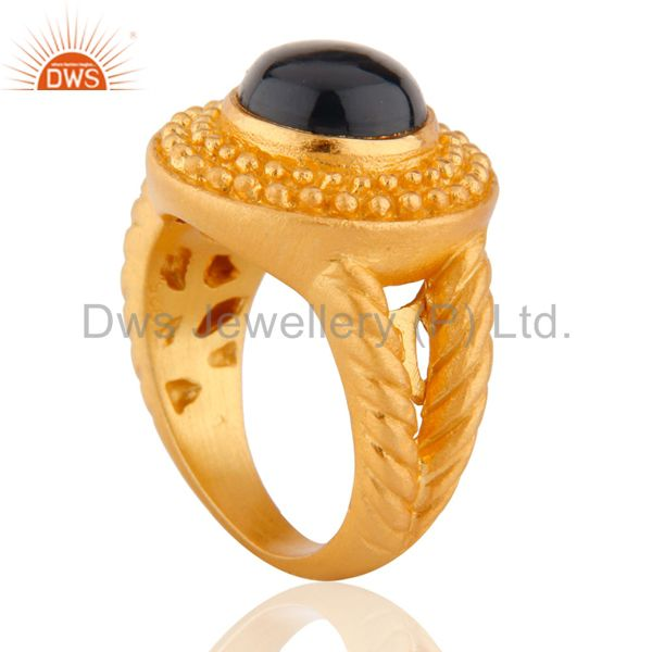 Suppliers 24K Yellow Gold Plated Smoky Quartz Sterling SIlver Matte Finish Ring Sz 7.5 US