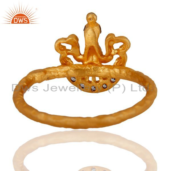 Suppliers New Design White Zircon 18 kt. Gold Over 925 Sterling Silver Peacock Design Ring