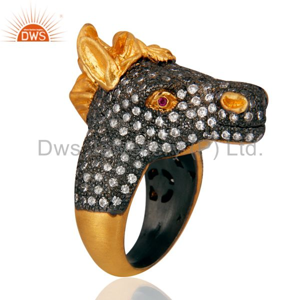 Suppliers 18K Yellow Gold Over Sterling Silver Antiqued CZ Horse Cocktail Ring