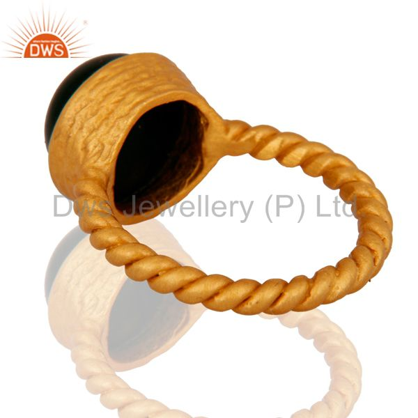 Suppliers 18K Yellow Gold Plated Sterling Silver Natural Black Onyx Stack Ring