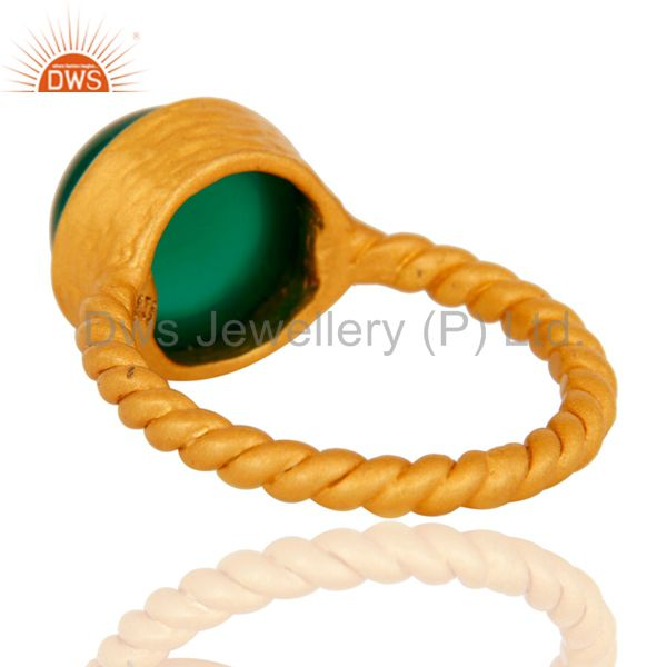 Suppliers Natural Green Onyx Yellow Gold Plated Sterling Silver Womens Ring Size 7