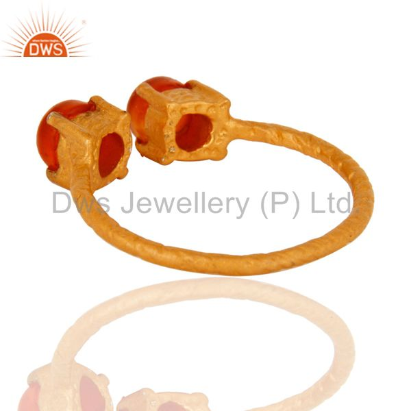 Suppliers Natural Carnelian Gemstone Solid Sterling Silver Adjustable Ring - Gold Plated