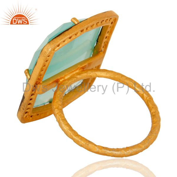 Suppliers Aqua Blue Chalcedony Glass Stack Ring Made In 18K Gold Over Sterling Silver