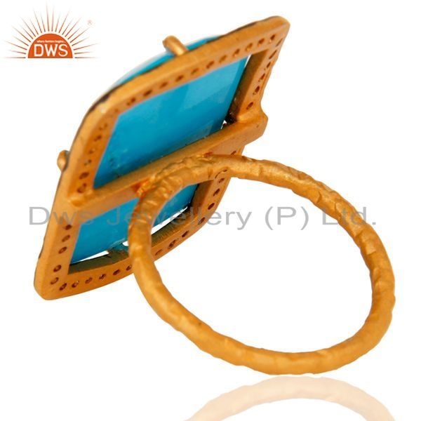 Suppliers Handmade 22K Gold Plated 925 Sterling Silver Turquoise Gemstone Designer Ring