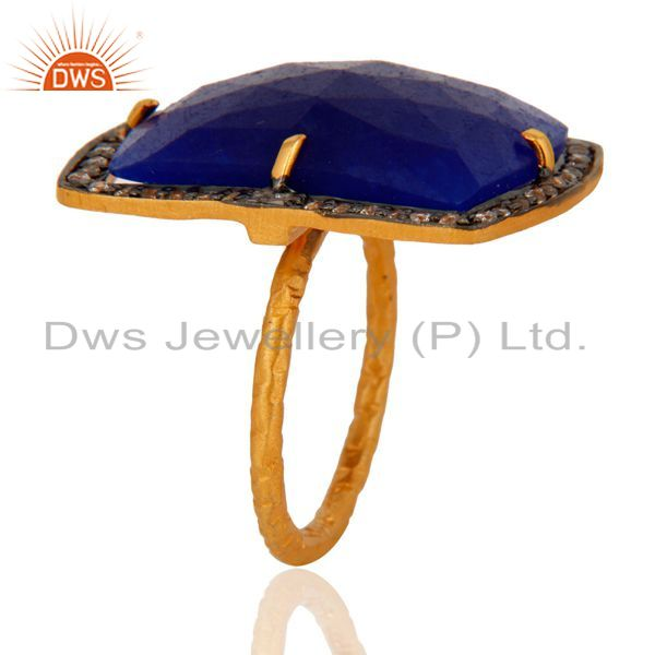 Suppliers 18K Gold Plated 925 Sterling Silver Faceted Semi-Precious Blue Aventurine Ring