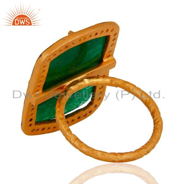 Suppliers 18k Gold Plated Green Aventurine Gemstone Ring Sterling Silver Handmade Jewelry