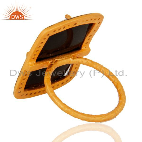 Suppliers Handmade Black Onyx Gemstone Sterling Silver With Gold Plated Ring