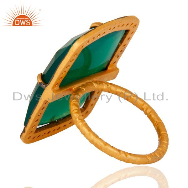 Suppliers Handmade 925 Sterling Silver Green Onyx Gemstone Ring With White Zircon