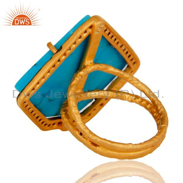 Suppliers Designer Turquoise Ring Crafted In Sterling Silver With Gold Plated