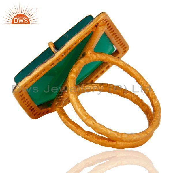 Suppliers Handmade Indian Designer Green Onyx & CZ Ring 24K Gold Over 925 Sterling Silver