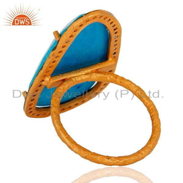 Suppliers Turquoise & Zircon 22K Yellow Gold Plated Sterling Silver Gemstone Fashion Ring
