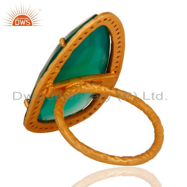 Suppliers Handmade 925 Sterling Silver Real Green Onyx Gemstone Ring Gold Plated Jewelry