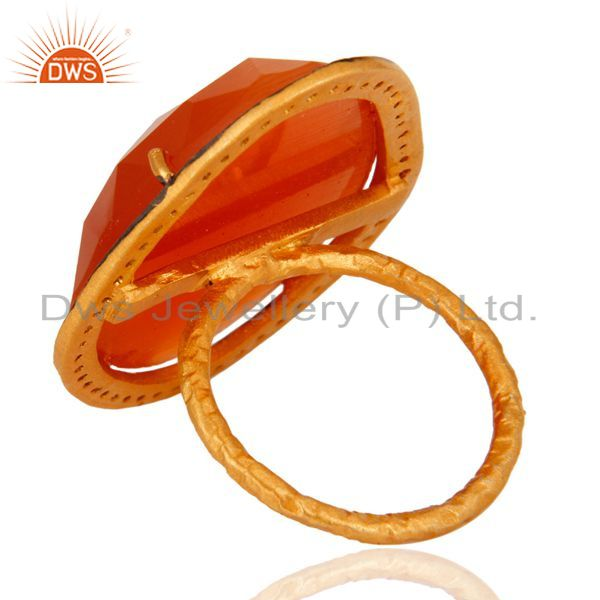Suppliers CZ Peach Moonstone Gemstone Gold Plated Silver Ring Manufacturer
