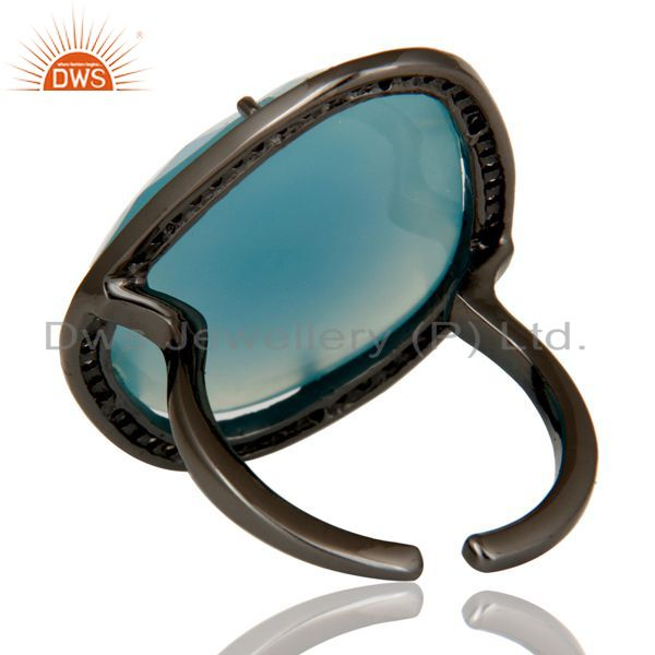 Suppliers Blue Chalcedony Handcrafted Sterling Silver With Black Oxidized Open Ring