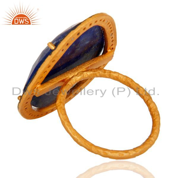 Suppliers Natural Lapis Lazuli Gemstone Handcrafted Sterling Silver With Gold Plated Ring
