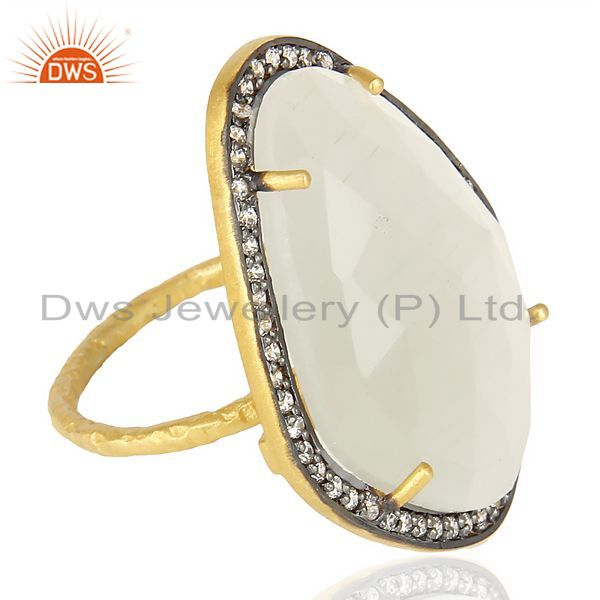 Suppliers White Moonstone CZ Statement 14K Gold Plated 925 Sterling Silver Ring Jewelry
