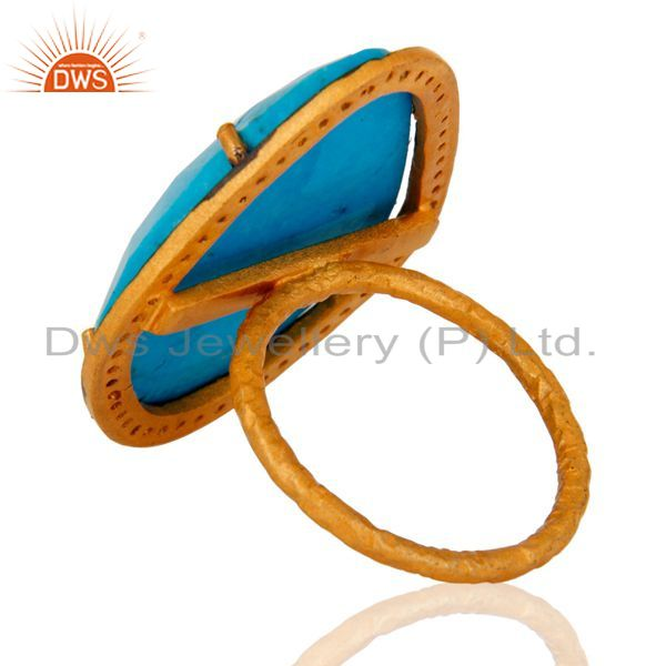 Suppliers Designer Matrix Turquoise Gemstone 24K Yellow Gold Plated Sterling Silver Ring
