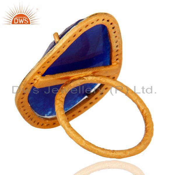 Suppliers 22K Gold Plated Over Sterling Silver Blue Aventurine Hammered Band Ring With CZ