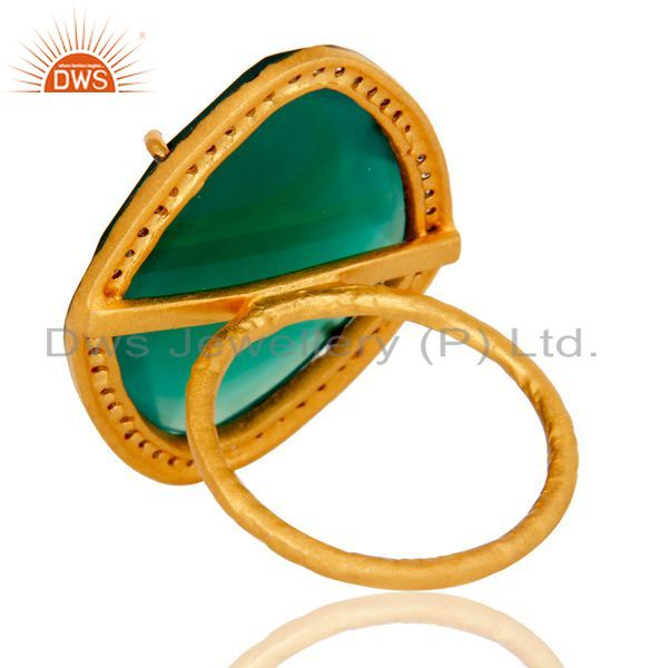 Suppliers Natural Faceted Green Onyx Gemstone & CZ Sterling Silver Ring With Gold Plated