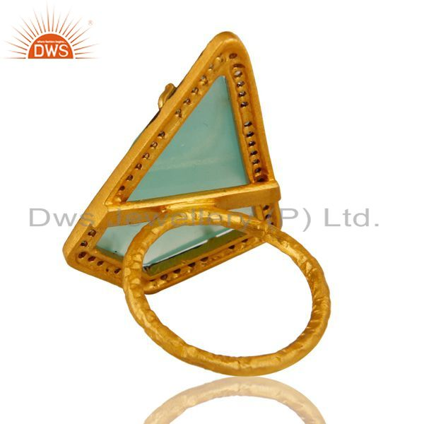 Suppliers 14K Yellow Gold Plated 925 Silver Aqua Chalcedony Solitaire Ring With CZ