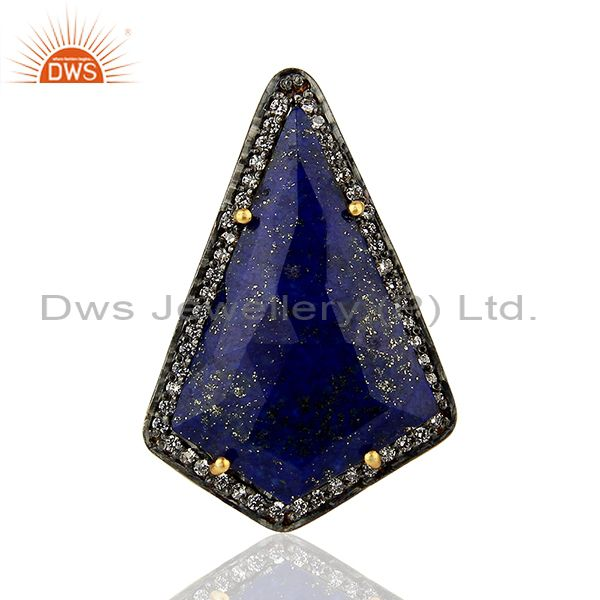 Suppliers CZ & Lapis Gemstone Gold Plated 925 Silver Womens Ring Supplier