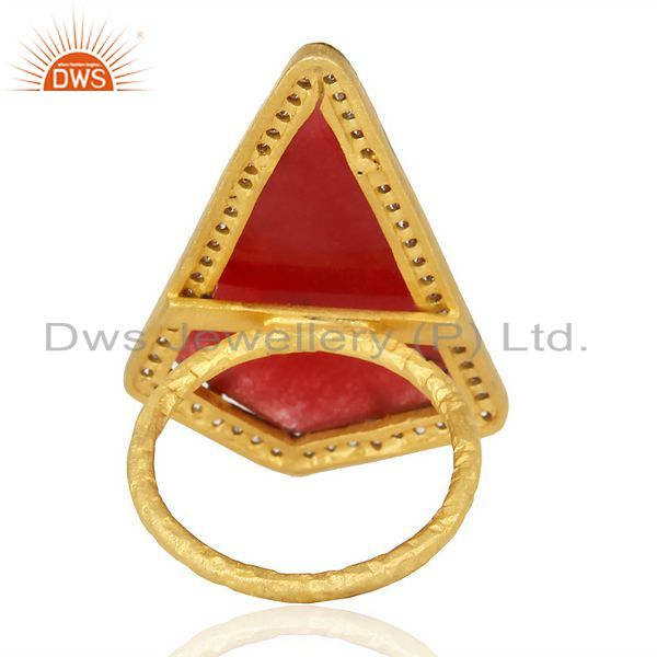 Suppliers Handmade Hammered 22K Gold Plated Over Sterling Silver Designer Red Onyx Ring