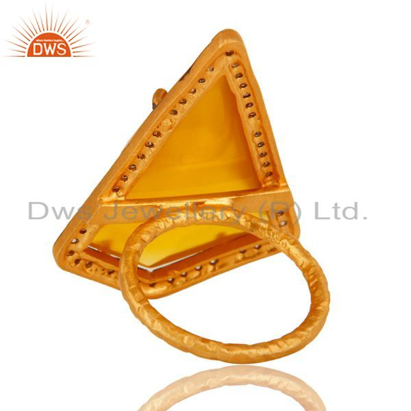 Suppliers Yellow Chalcedony And CZ Fashion Ring In 18K Yellow Gold Over Sterling Silver