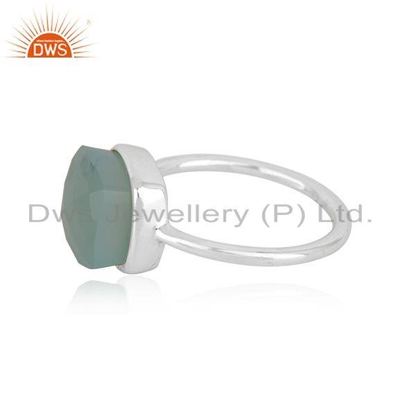 Suppliers Aqua Chalcedony Gemstone Fine Sterling Silver Ring Manufacturer in India