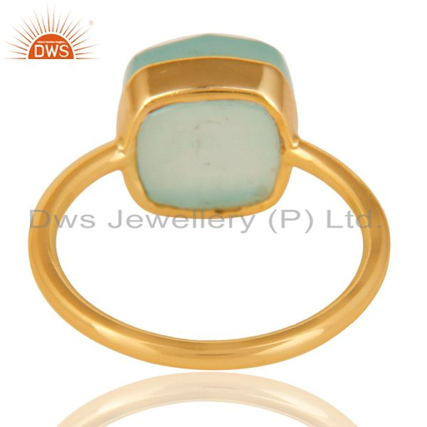 Suppliers 14K Gold Plated 925 Sterling Silver Faceted Dyed Chalcedony Statement Ring